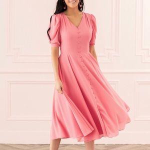 Rachel Parcell Pink Puff Sleeve Romantic Dress